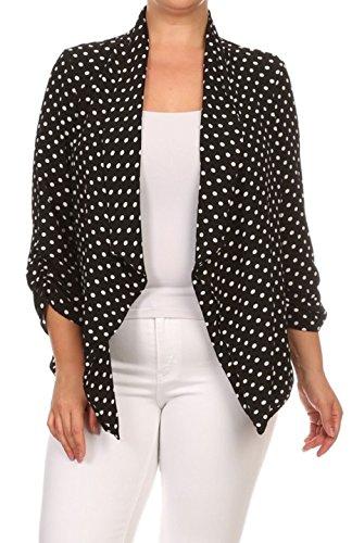 2LUV Plus Women's Open Front Gathered Sleeve Plus Size Blazer – X-Large, Black1