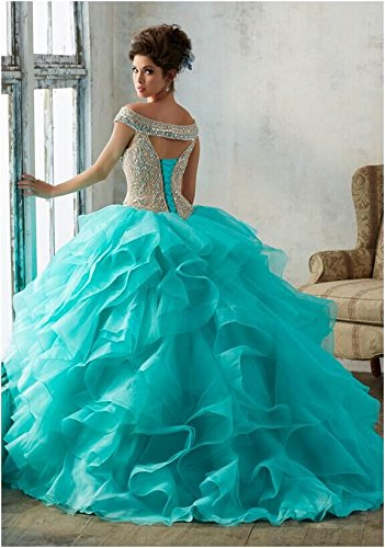 GreenBloom Womens Sweet 16 Quinceanera Dresses With Jacket Ruffles Crystal Beaded at Amazon Womens Clothing store: