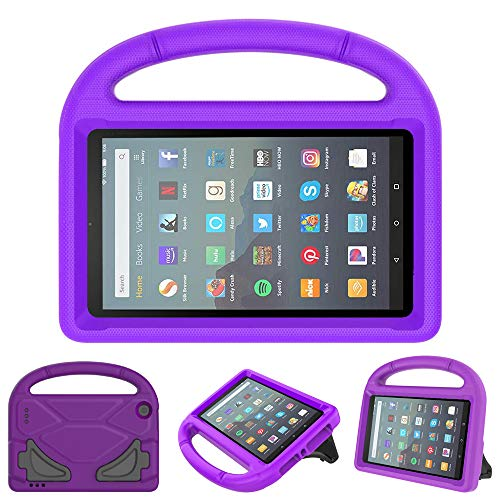 eTopxizu Kids Case for All New Amazon Fire 7 2019/2017 - Light Weight Shockproof Handle Foldable Stand Kids Friendly Case for Fire 7 Inch Tablet (9th & 7th Generation, 2019 & 2017 Release), Purple