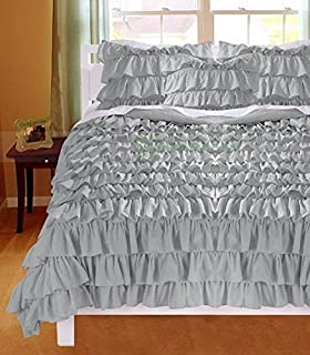ARlinen 3 Pieces Waterfall Ruffle Duvet/Quilt Cover Set Unique Outlook With  1x Duvet Cover