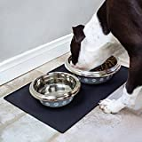 Silicone Pet Bowl Mat Spill-Proof Pet Feeding Mats Anti-Slip Food Mat Dog Cat Placemat (19 x 12 inches, BLACK)