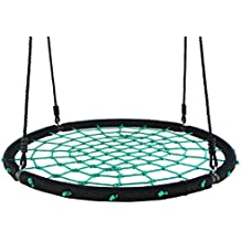 """Movement God Spider Web Tree Swing with Adjustable Hanging Ropes - Extra Large 40"""" Diameter Kids Indoor/Outdoor Round Net Swing - Super Strong Holds 600 lbs (Green)"""