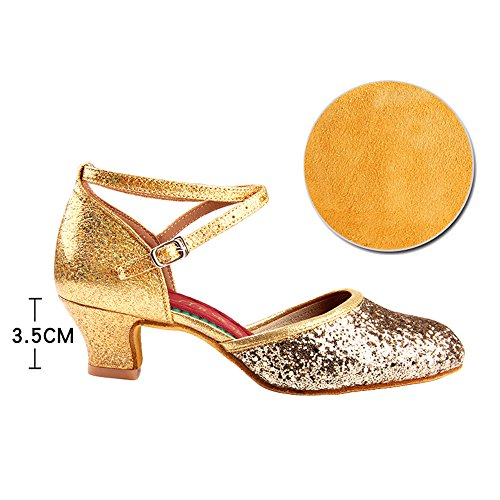 ZooBoo Ballroom Latin Dance shoes - Women's Girl's Professional Latin Shoes Satin Upper Sandals Ballroom Dance Shoe Heel 3.5/5.5cm High Heel Gold with heel 3.5cm voJphaFoCd