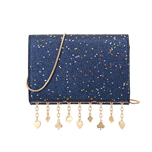 Gabrine Womens Elegant Shoulder Crossbody Bag Handbag Clutch Purse Glitter Bling Sparkling Sequins Little Stars for Dailywear Wedding Party Prom by Gabrine