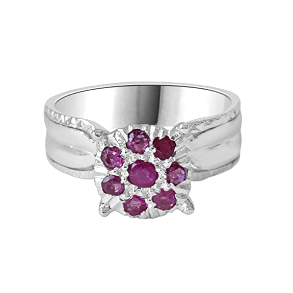 Silver Rose Real Ruby Ring in Sterling Silver Rings at amazon