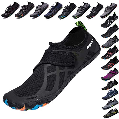LINGTOM Mens Womens Aqua Water Shoes Quick Dry Barefoot Sports Exercise for Walking Swimming Diving Beach Surf Pool Yoga,Black 15.5 M US Women / 14 M US Men (Water Shoes 15)