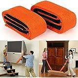 ®Praha Furniture Canvas Lifting Moving Straps Carry Rope Belt (Orange) -2 Pieces