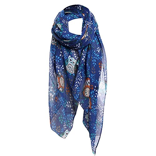 UONQD Women Ladies Owl Leaves Print Pattern Long Scarf Warm Wrap Shawl BU(OneSize,Blue)