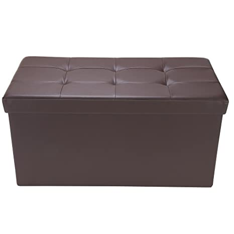 Tremendous Homegear 30 Folding Faux Leather Storage Ottoman Footstool Bench Brown Pabps2019 Chair Design Images Pabps2019Com