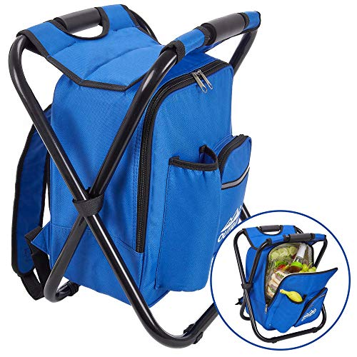 Outrav Blue Backpack Cooler and Stool - Collapsible Folding Camping Chair and Insulated Cooler Bag with Zippered Front Pocket and Bottle Pocket - for Hiking, Beach and More