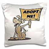 Dooni Designs Retro Style Cartoons - Retro Style Cartoon Dog Holding Adopt Me Sign Pet Adoption Cartoon - 16x16 inch Pillow Case (pc_117503_1)