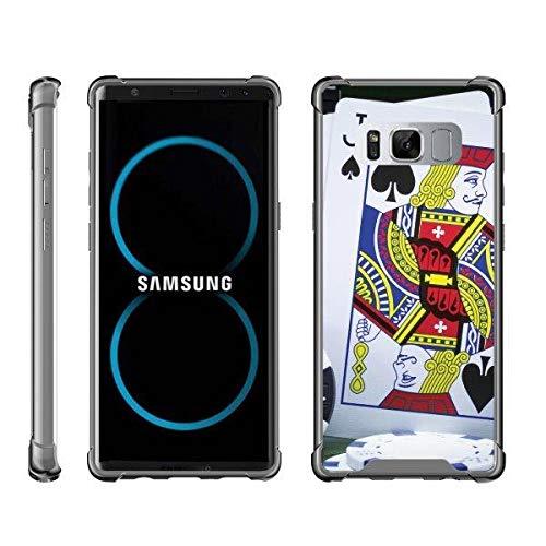 (TurtleArmor | Compatible for Samsung Galaxy Note 8 Case | N950 [Flexible Armor] Slim TPU Hard Back Cover Shock Bumper Case with Smoke Edges Gambling Casino Design - Blackjack)