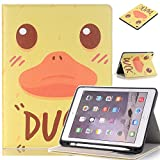 "JiiJian ipad Mini 4 Shell with Stand,iPad 7.9"" Case with Pencil Holder and Card Slots,Ultra Slim Lightweight Shell Stand Cute Cartoon Pattern Design - Duck"