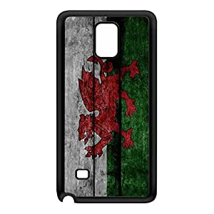 Grunge Wood Flag of Wales Dragon - Welsh Baner Cymru - Y Ddraig Goch Black Silicon Rubber Case for Galaxy Note 4 by UltraFlags + FREE Crystal Clear Screen Protector