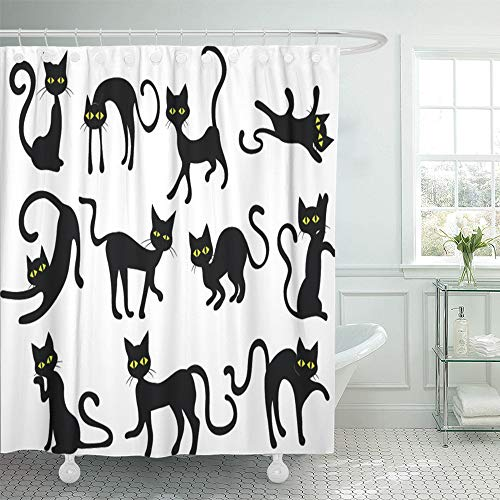 Emvency Decorative Shower Curtain Yellow Holloween Black Cats