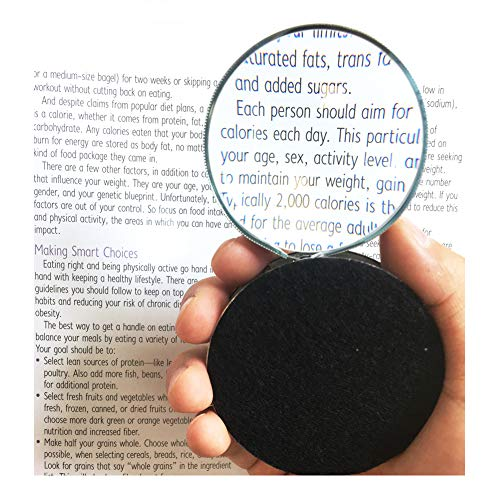 Raxsun Pocket Size Magnifying Glass Optical Portable Folding Magnifier Large 360-degree Rotating Magnifying Lens Handheld Reading Magnifier for Book Newspaper Reading and Hobby Observation Perfect for