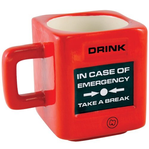 In Case Of Emergency Take a Break Mug - Funny Crisis Square Red Drink Cup