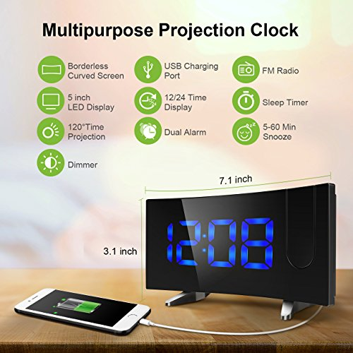 projection alarm clock Clocks with projectors allow you to see the time on the wall or ceiling: you don't have to roll over -- or put on your reading glasses -- to see the clock.