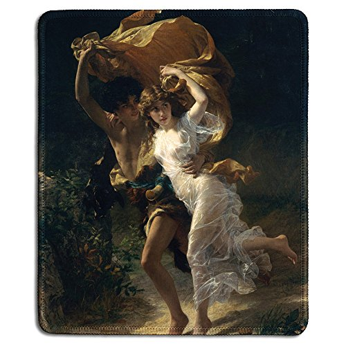 dealzEpic - Art Mousepad - Natural Rubber Mouse Pad with Famous Fine Art Painting of The Storm by Pierre Auguste Cot - Stitched Edges - 9.5x7.9 inches