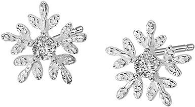 Sterling Silver Post US Necklace Snow flake Cubic Zirconia Jewellery Set JiSis 925 Stud Earrings UK Snow Earrings Dainty Jewellery