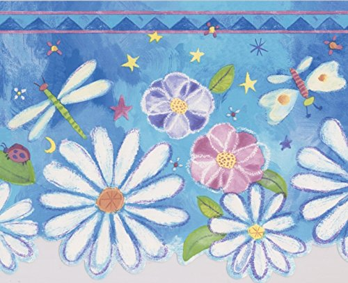 White Pink Purple Flowers Dragonfly Butterfly Stars Blue Wallpaper Border for Kids Bedroom Playroom, Roll 15' x 8