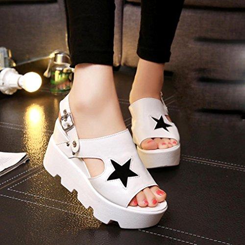 Hunpta Frauen Fisch Mund Freizeitschuhe Plattform Keile Fünfsterne Sandalen Schuhe Weiß