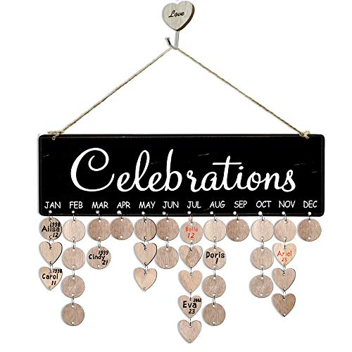 YuQi Gifts for Mom Grandma- Wooden Family Birthday Reminder Calendar Board Wall Hanging, Anniversary Celebrations Tracker Calendars Plaque with Tags for House Classroom Bar Decorations (Family Plaques Wall)