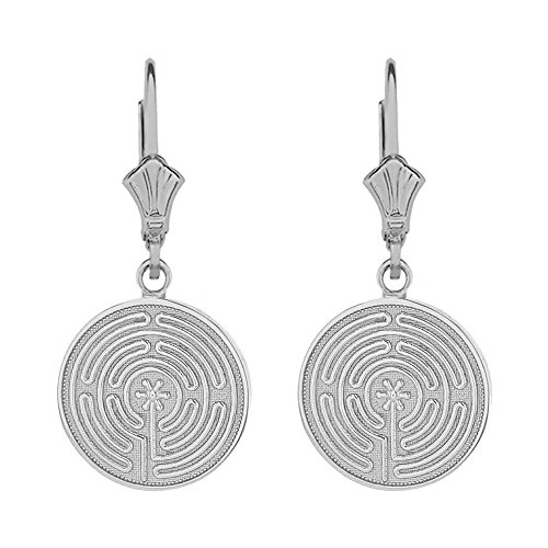 (Sterling Silver Chartres Labyrinth Disc Leverback Earrings)