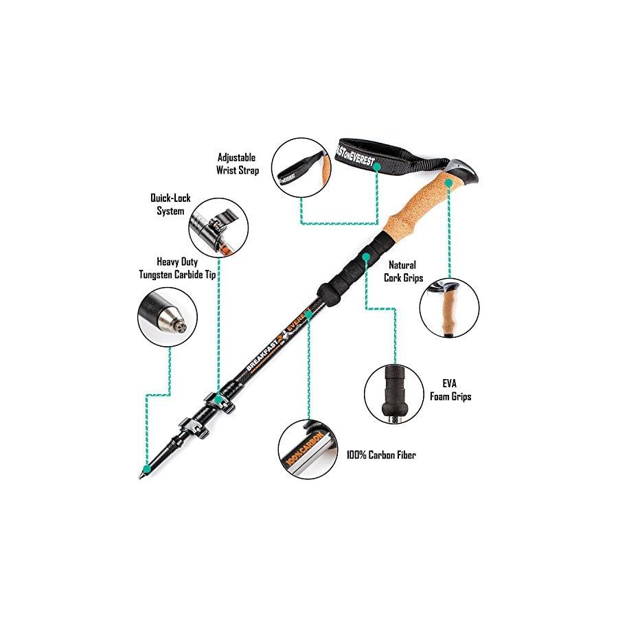 100% Carbon Fiber Trekking Poles for Women Men Premium Walking Poles Best Walking Stick Lightweight Hiking Sticks Collapsible Hiking Poles Trekking Sticks for Kids Trek Pole for Hiking