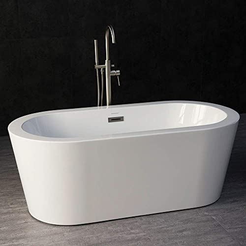 Woodbridge B0012 Acrylic Freestanding Bathtub Contemporary Soaking Tub with Brushed Nickel Overflow and Drain, BTA1506, Without, 59 B-0012 no Faucet