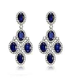 White Gold Sapphire Drop Diamond Earring