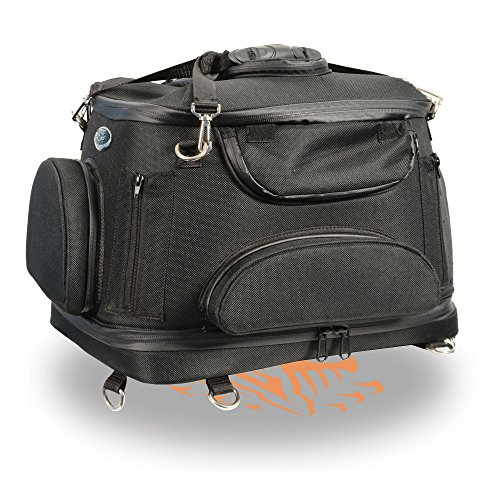 Milwaukee Leather MP8103-BLACK-PCS Black PCS Heavy Duty Motorcycle Pet Carrier Sissy Bar Bag