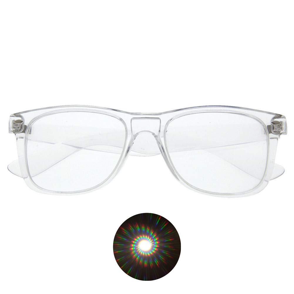 EAHAWORLD Premium Spiral Diffraction Prism Rave Glasses Plastic - 1 Pairs (Clear Color) Hony Optical