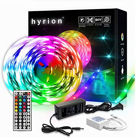 50ft LED Strip Lights, 2 Rolls of 25ft hyrion LED Lights for Bedroom with 44 Keys Remote for Bedroom, Kitchen, Desk, Color Changing Led Strip for Home Decoration