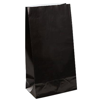 Unique Party- Paquete de 12 bolsas de regalo de papel, Color negro, 59012)