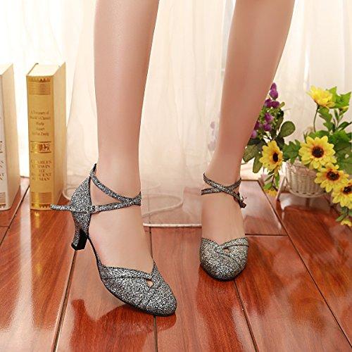 Black Danse 6cm Minitoo Heel Salon Femme de Silver gnwq4