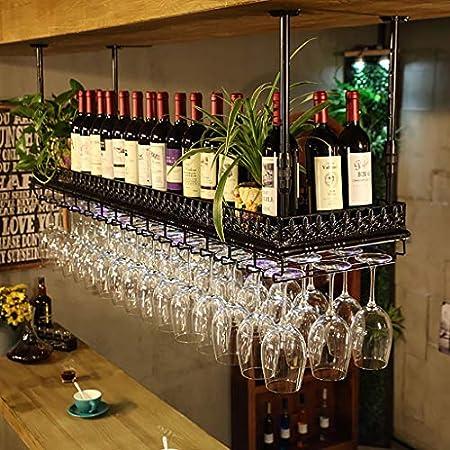 ZFF Wine rack Vinoteca Vitrina, Barra Bar mostrador de Hierro Forjado Estante Techo Copa de Vino Colgante Colgando Boca Abajo botellero 60/80/100 / 120cm (Color : A, Tamaño : 120 * 35cm)