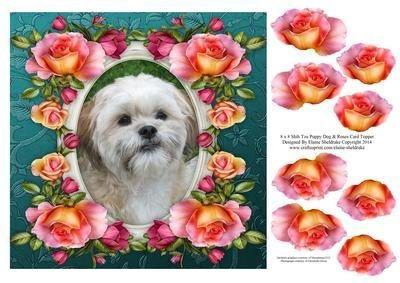 8 X 8 Shih Tzu Puppy Dog Roses Card Topper Decoupage By Elaine