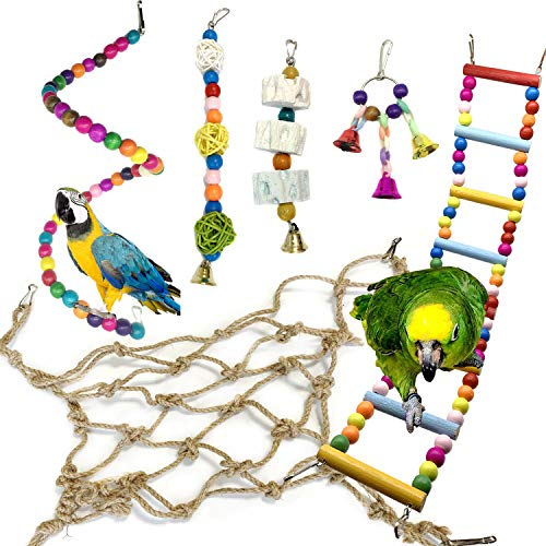 PietyPet Bird Parrot Toys for Cages, 6 pcs Colorful Chewing Hanging Swing Pet Bird Toy with Bells, Hemp Rope Nets Climbing Ladder, Wooden Ladder Hammock, Birdcage Stands for Small Birds