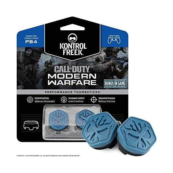 KontrolFreek Call of Duty Modern Warfare Performance Thumbsticks for PlayStation 4 (PS4) | 2 Mid-Rise, Convex | Blue… 1