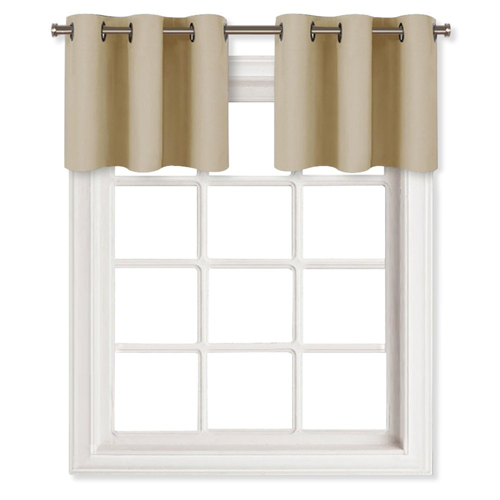NICETOWN Room Darkening Valances for Small Window - Functional Thermal Insulated Window Treatment Curtains/Drapes (2 Panels, 29W by 14L Inches, Cream Beige)