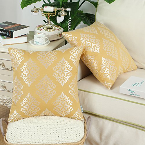 CaliTime Pack of 2 Soft Jacquard Throw Pillow Covers Cases Couch Sofa Home Decoration Vintage Damask Floral 18 X 18 inches Gold by CaliTime (Image #3)