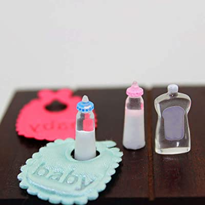 Anniston Dollhouse Furniture, Miniature Doll House Kids Girl Toy Play House Baby Bibs Milk Bottle Lotion Gift House Playset Set for Toddlers Girls and Boys: Toys & Games