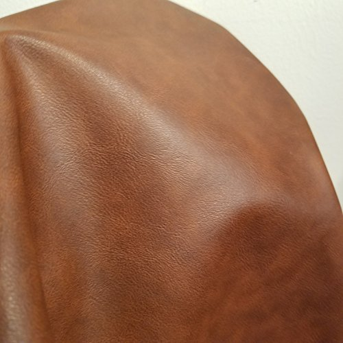 Mid Brown Tan Soft Faux Vegan PU Leather by The Yard Synthetic Pleather 0.9 mm Nappa Yards (36 inch Wide x 52 inch) Soft Smooth Vinyl Upholstery (Mid Brown, 1 ()