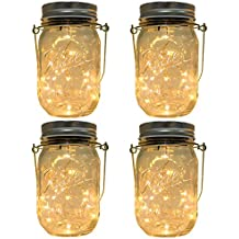 CHBKT 4-Pack Solar-powered Mason Jar Lights (Mason Jar / Handle Included),20 Bulbs Jar Hanging Light,Garden Outdoor Solar / Hanging Lantern,Decor Solar Light,Table Light,Patio Path Light,Warm White