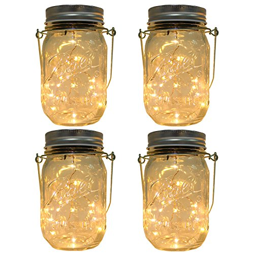 CHBKT 4-Pack Solar-powered Mason Jar Lights (Mason Jar / Handle Included),20 Bulbs Jar Hanging Light,Garden Outdoor Solar / Hanging Lantern,Decor Solar Light,Table Light,Patio Path Light,Warm White (Solar Covers Patio)