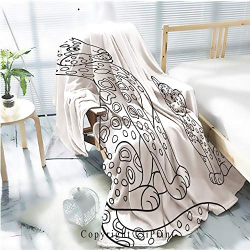 (Printed Flannel Sherpa Back Blanket,Coloring Pages Mother Jaguar with her Little cub 1 Rustic Home Decor Decorative,One Side Printing,W47.2 xH59.1)