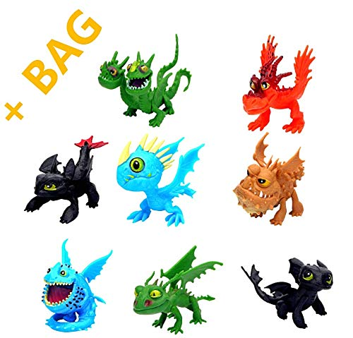 How to Train Your Dragon - Dragon Figurines, 8 Action Figures Toothless Dragon Toy Kit for Creative Playtime Dragon Birthday Party Supplies Cake Topper- Bonus: Carry Bag