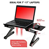 Desk York Portable Laptop Stand - Best GIFT Friend-Men-Women-Student - Recliner-Bed Lap Tray Adjustable Light Table Computer - 2 Built in Cooling Fans - Mouse Pad Usb Cord -Up To 17'' Black