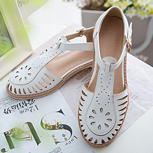 Women Low Summer Cut White Sandals Strap Comfortable Heel TAOFFEN T Buckle Outs aHxqa0d